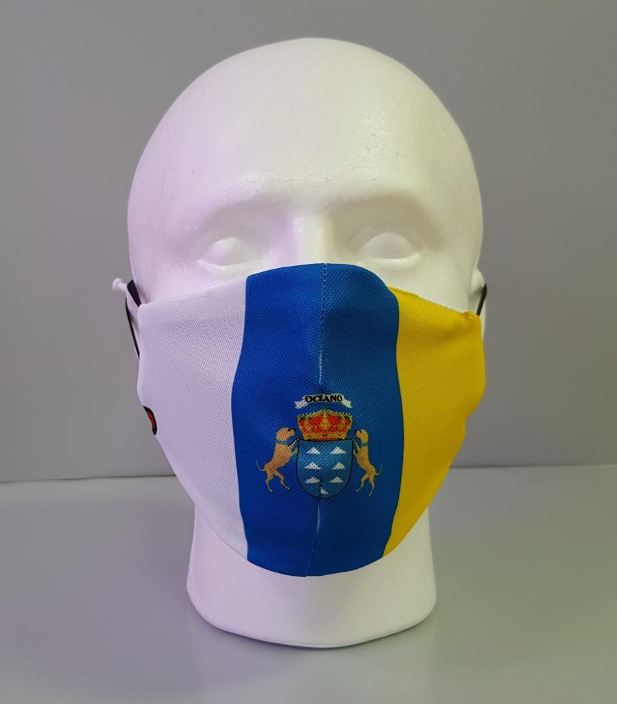 Mascarilla con diseño de la bandera de Canarias con escudo central
