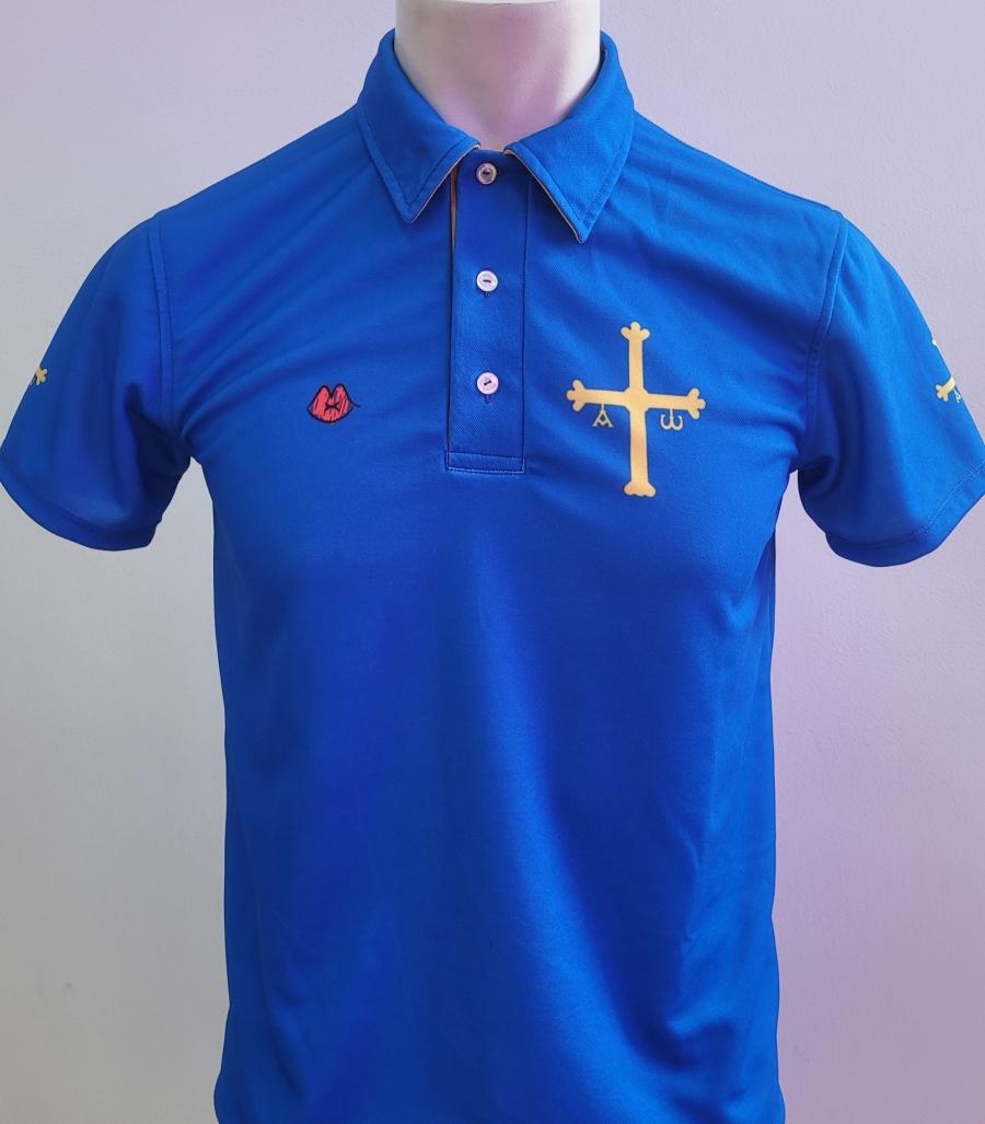 Polo azul con la bandera de Asturias