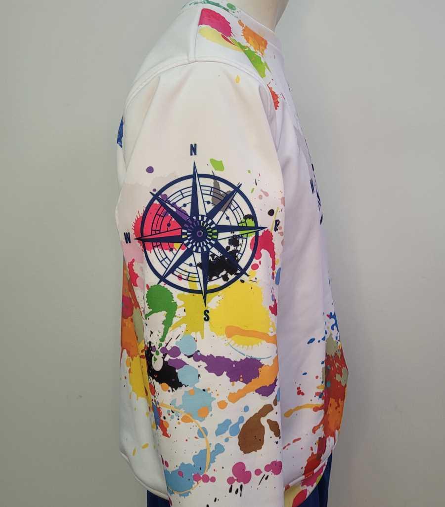 Sudadera personalizada en color blanco con diseño de gotas de pintura de colores y dibujo de la rosa de los vientos