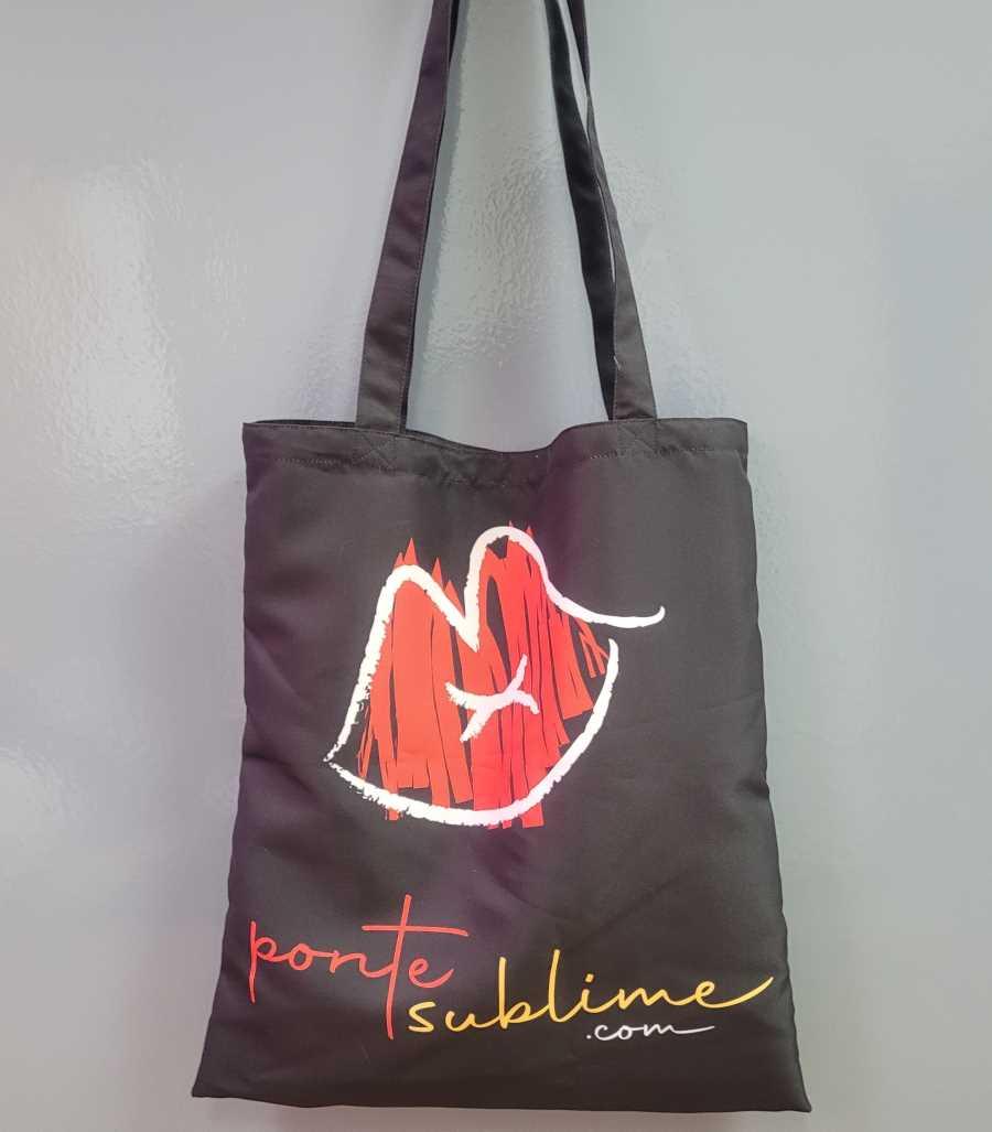Tote Bag o Bolsa de tela en color negro con el logo de Pontesublime.com