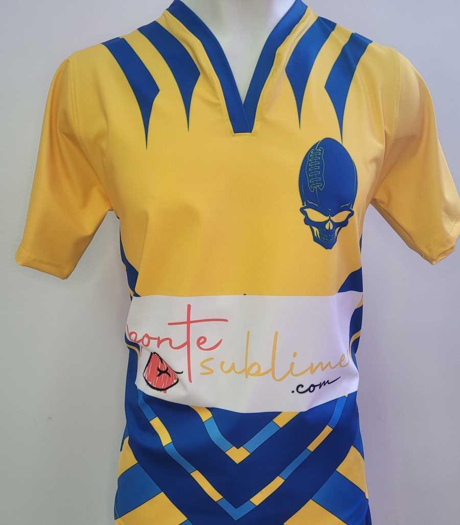 Camiseta de rugby en colores amarillo y azul
